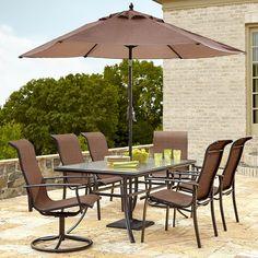 Patio Dining Set Garden Oasis Harrison Modern Design Seats Swivel Top Copper Red