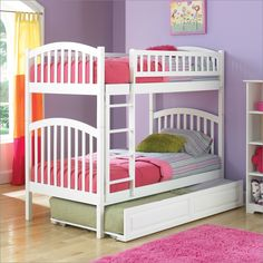 Richmond Style Bunk Bed with Trundle in White By Atlantic Furniture B-