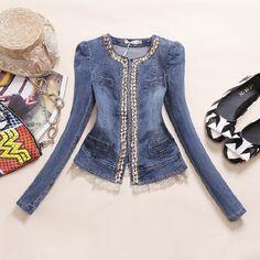 2016 novas rendas de Slim Patchwork Denim Jackets casacos Jean Coats strass lantejoulas jaquetas retrô mulheres casacos casacos femininos B736 em Jaquetas Básicas de Moda e Acessórios no AliExpress.com | Alibaba Group