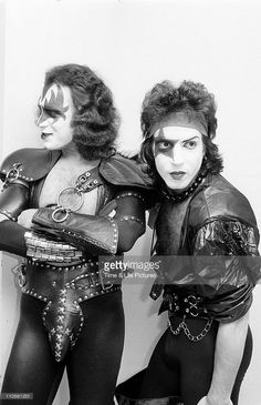 Gene Simmons and Paul Stanley in make-up and costume as members of rock group KISS.