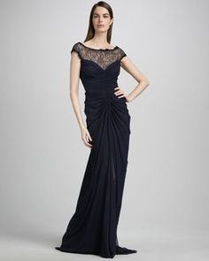 Cap-Sleeve Lace Illusion Gown by Tadashi Shoji at Neiman Marcus.- Love this dress, now i just need to find an event to where it too! Bring on the Titanic theme party!