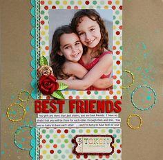 Best Friends scrapbook page layout Friend Scrapbook, Kids Scrapbook, Scrapbook Paper Crafts, Scrapbook Supplies, Scrapbook Cards, Scrapbook Organization, Scrapbook Sketches, Scrapbook Page Layouts, Scrapbooking Digital