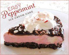 Peppermint Ice Cream Cake for Christmas