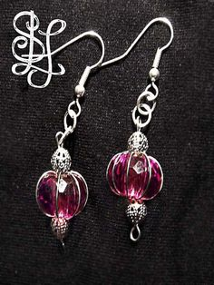 Gypsy Tease - Wide Gem Earrings (from the Urban Retro Chic Collection) are available in pink. lavender, or black multifaceted beads suspended in delicate wirework. $16 at Sasha L Jewels LLC