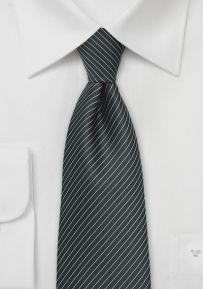 Dark Charcoal Colored Necktie with Silver Pencil Stripes - Length: 58 , Width: Der Gentleman, Grey Tie, Mens Fashion Shoes, Charcoal Color, Outfit, Men's Shoes, Paisley, Bows, Dark