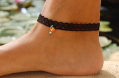 Lace Anklets Black Lace Bracelet Turquoise by FashionAndScarves Lace Jewelry, Emerald Jewelry, Bridal Jewelry, Lace Bracelet, Bracelets, Anklets, Turquoise, Legs, Handmade