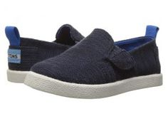 TOMS Kids Avalon Slip-On (Infant/Toddler/Little Kid) (Navy Slubby Linen) Kids Shoes