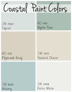 6 soothing blue and greige paint colors used throughout a Florida beach home that all flow together. 6 soothing blue and greige paint colors used throughout a Florida beach home that all flow together. Beach Cottage Style, Beach Cottage Decor, Coastal Cottage, Coastal Homes, Coastal Style, Coastal Decor, Coastal Interior, Coastal Living, Coastal Kitchens