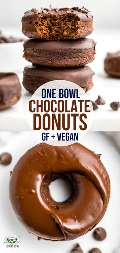 These fluffy Chocolate Donuts are made in only one bowl and baked instead of fried! A yummy Gluten-Free Vegan and Oil-Free healthy treat. The post One Bowl Chocolate Donuts appeared first on Dessert Park. Sans Gluten Vegan, Dessert Sans Gluten, Bon Dessert, Vegan Dessert Recipes, Donut Recipes, Gluten Free Desserts, Gourmet Recipes, Free Recipes, Gluten Free Vegan Donut Recipe