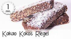 Kakao Kokos Riegel ohne backen - Rezept von 5 Minute Recipes Kakao, Protein Bars, Deserts, Low Carb, Baking, Fitness, Brunch, Instagram, Vegan Snacks