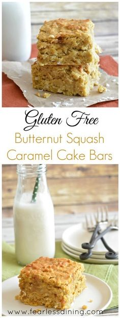 Gluten Free Butternut Squash Caramel Cake Bars   http://www.fearlessdining.com