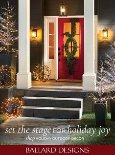 Shop Ballard Designs to set the stage for holiday joy. Shop a beautiful selection of Christmas wreathes, Christmas outdoor decor, Christmas holiday and more. Holiday Ideas, Christmas Ideas, Holiday Decor, Christmas Shopping, Christmas Holidays, Outdoor Christmas Decorations, Outdoor Decor, Joy Shop, Outdoor Furniture Covers