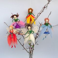 Felt Fairies Spring flower Waldorf doll Needle felt by CozyMilArt, $120.00