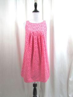 Michael Kors Shell Pink Eyelet Cotton Shift Dress Size 4 Sleeveless Excellent #MichaelKors #Shift #Casual