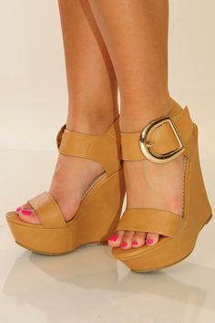 Live It Up Wedges: Tan          Get it now at www.shophopes.com and use code SUNSHINESTILETTOS for 10% off your entire purchase! Will sell out fast!  FREE SHIPPING!