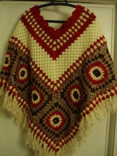 Hippie vintage style crochet poncho.  I forgot about these, but now I remember I made several of them back in the 70's.