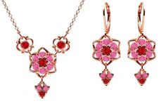 24K Pink Gold over 925 Sterling Silver Jewelry Set Necklace and Earrings by Lucia Costin Embellished with Red and Pink Swarovski Crystals Adorned with Cute Charms and Twisted Lines Handmade in USA ** Check this awesome product by going to the link at the image.