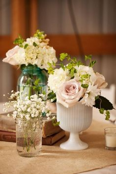 love the milkglass! and the baby's breath in the jelly jar is so cute