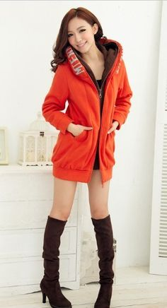 Womens Warm Thick Long Sleeve Hoodie