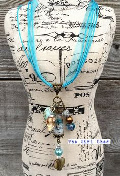 Beach themed vial necklace Pink and Blue by TheGirlShed on Etsy