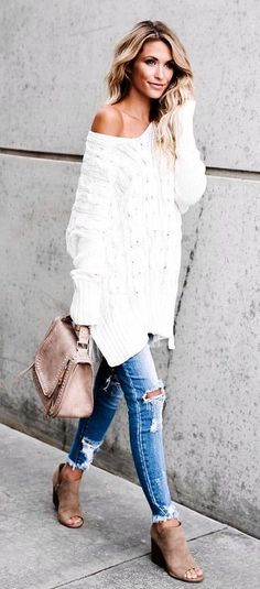 #fall #outfits White One Shoulder Knit + Destroyed Skinny Jeans + Beige Suede Open Toe Booties