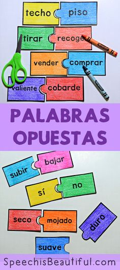 54 PUZZLES - Antónimos - Antonyms in Spanish (Palabras opuestas) -- just print and go! There are 54 antónimos for use with students learning about antonyms