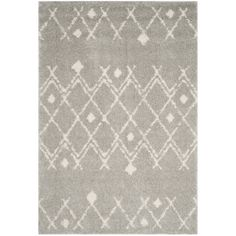 Safavieh Berber Tribal Light Grey/ Cream (Ivory) Shag Rug (5' 1 x 7' 6) (BER164B-5), Size 5' x 8'