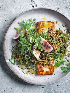 Spiced Freekeh Fig And Haloumi Salad | Donna Hay