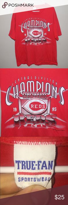 Vintage 1995 Cincinnati Reds Central Div. Champs Vintage 1995 Cincinnati Reds Central Division Champs T Shirt. Shirt is still in excellent condition with the only flaw being a very small hole in the front of the shirt that is barely even noticeable. Shirt has some awesome graphics and designs that are screen printed onto the front of the shirt. Perfect for any summer vintage outfit! Vintage Shirts Tees - Short Sleeve