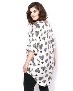 MELISSA McCARTHY Short Sleeve Heart Print Blouse