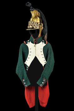 RARE Napoleonic Italian Garde Royale Dragoon Uniform and Helmet Reserve