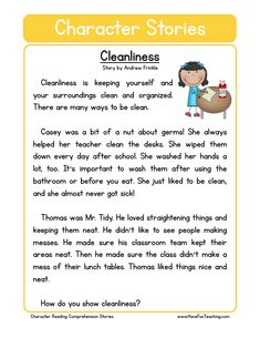 This Cleanliness Character Reading Comprehension Worksheet will help your students build their reading comprehension skills while reading about how to be a clean person. Phonics Reading, Reading Comprehension Passages, Reading Worksheets, Teaching Reading, 3rd Grade Reading Comprehension Worksheets, Fluency Practice, Kindergarten Reading, Preschool Kindergarten, Reading Strategies