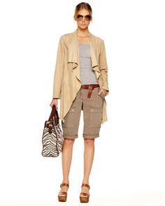 drape front suede jacket