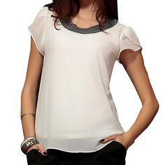 2017 Summer Fashion Chiffon Women tops sleeve shirt women casual blouse beading elegant blouse brief loose tops blusas femininas Ali Express, Fashion Fabric, Style Fashion, Fashion Women, Loose Tops, Blouses For Women, Women's Blouses, Outfit, Ideias Fashion