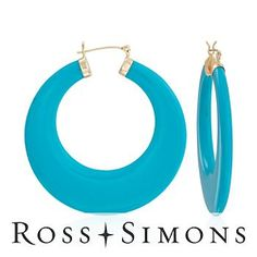 Large Turquoise Hoop Earrings In 14kt Yellow Gold december birthstone earrings