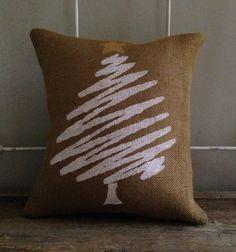 Burlap Pillow-  White Chrimstas Tree, Christmas/Holiday decor, Christmas pillow on Etsy, $29.00