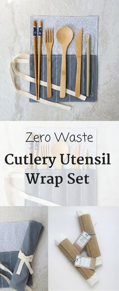 Eco-friendly utensil set and cotton wrap. For a waste-free life on the go, simply slip the wrap inside your bag, lunch box, or keep a set in your desk. #zerowaste #ecofriendly #affiliate #eco-friendlyproducts