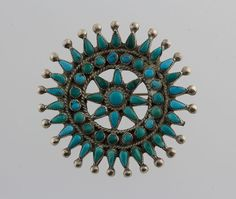 Old Pawn Vintage Native American Navajo Needle Petit Point Turquoise Cluster Pin #Handmade