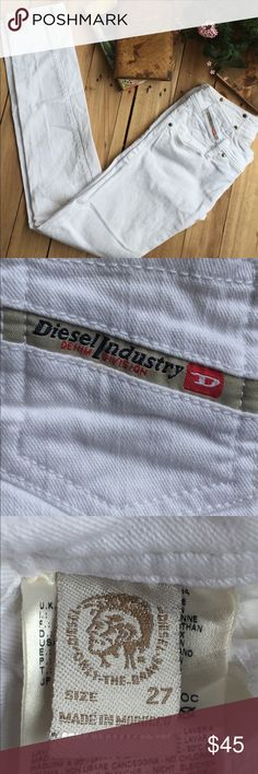"""Diesel White Skinny Jeans White after Labor Day? Why not! These Diesel white skinny jeans are great anytime of year. Size 27.   Dimensions inseam 32"""". Rise 7"""".  Overall 40"""" Waist 14"""" Diesel Jeans Skinny"""