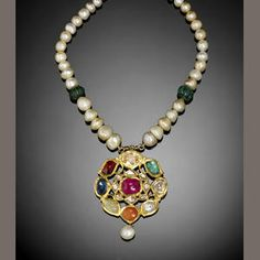 An Indian navratna gem-set enamelled gold Pendant Necklace