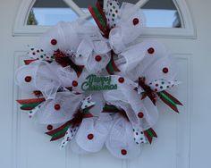 Christmas wreath, mesh wreath, winter wreath, holiday wreath, door decoration, door wreath, Christmas decorations by ritzywreaths on Etsy