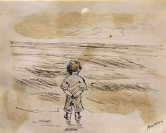 """Edward Hopper - """"Little Boy Looking at the Sea,"""" drawn on the reverse of a report card, undated."""