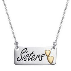 Sterling Silver Sisters Necklace with Gold-Plated Hearts