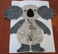 koala newspaper collage for Australia day (January from guybrarian/Phillipa at House of Baby Piranha Kids Crafts, Bear Crafts, Animal Crafts, Zoo Crafts, Kindergarten Crafts, Classroom Crafts, Preschool Crafts, Newspaper Collage, Newspaper Crafts