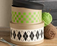 DIY Argyle Stenciled Hat Boxes