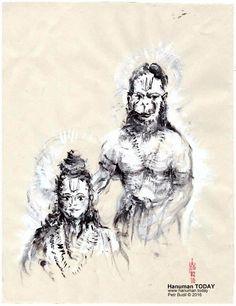 Saturday, February 6, 2016   Daily drawings of Hanuman / Hanuman TODAY / Connecting with Hanuman through art / Artwork by Petr Budil [Pritam] www.hanuman.today