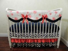 Custom Baby Crib Bedding Set Josie - Coral And Navy Bumperless Crib Bedding With…