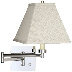 Possini Euro Design Modern Swing Arm Wall Lamp Chrome Plug-In Light Fixture Meemaw Cream Square Shade for Bedroom Bedside Reading Swing Arm Wall Lamps, Designer Shades, Modern Wall Sconces, Lamp Design, Chrome Finish, Light Fixtures, Modern Design, Wall Lights, Bedside