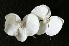 LAILA  Orchid and rhinestones flower hair pins by ORNENT on Etsy, $39.00