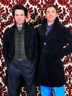 Robert Downey Jr. poses with the wax figure of him as Sherlock Holmes in Madame Tussaud's Wax Museum, London.